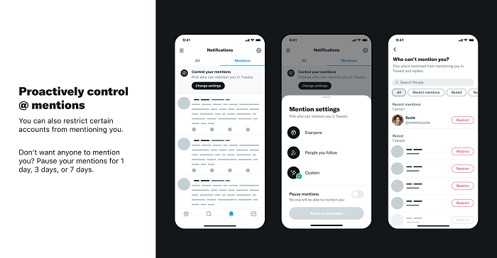 Twitter mention controls