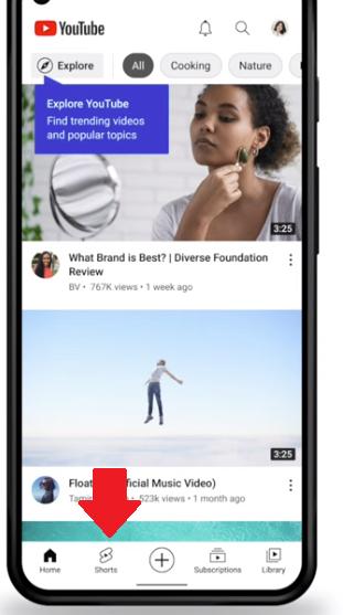 YouTube Shorts tab