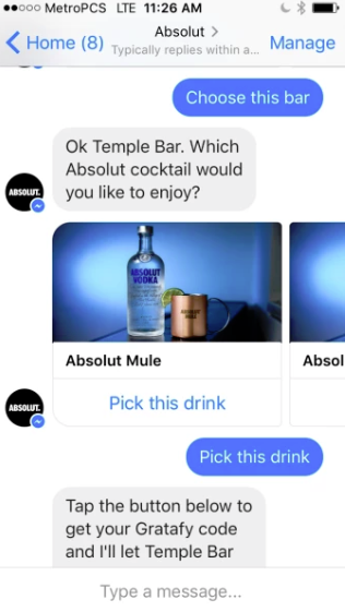 Absolut vodka chatbot