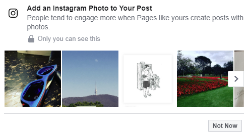Instagram share prompt on Facebook