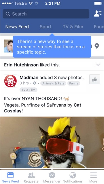 Facebook alternate News Feed experiment