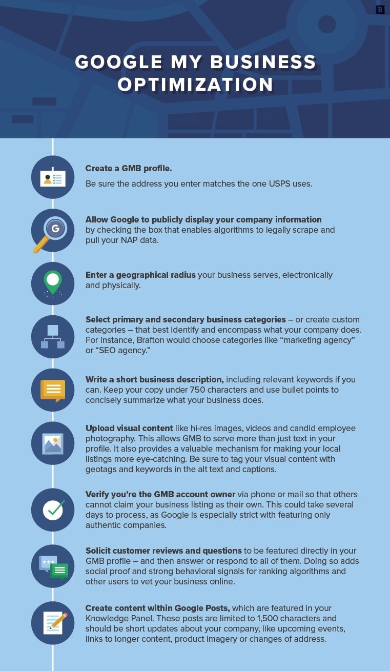 infographic lists some key Google My Business tips