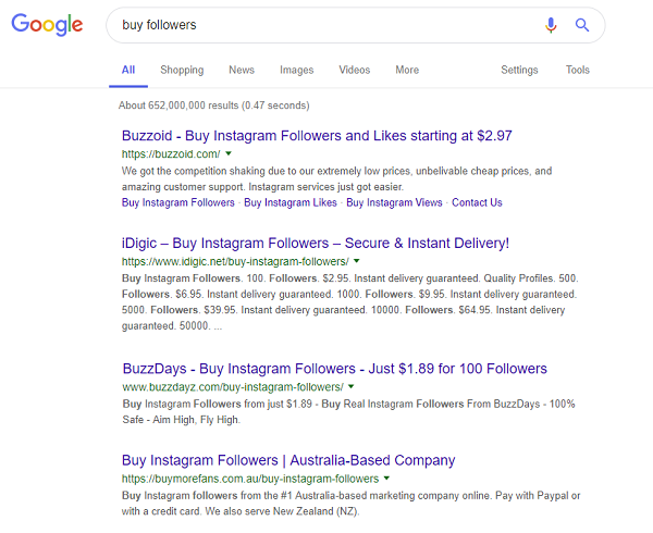 Google search for 'Buy followers'