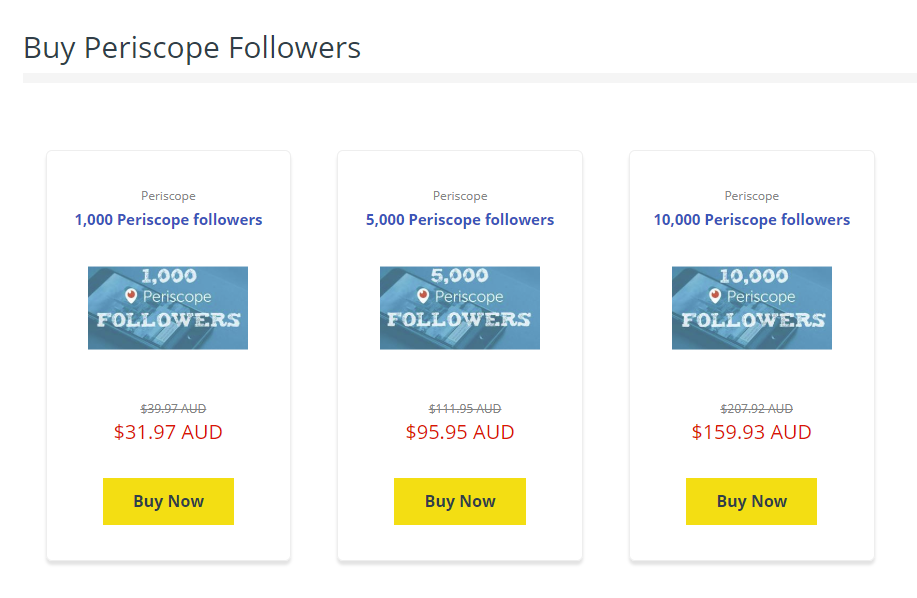 An example of Periscope follower purchasing