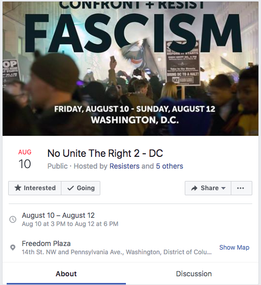 An example of a Facebook event organized by politically motivated groups