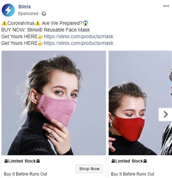 Facebook mask ad example