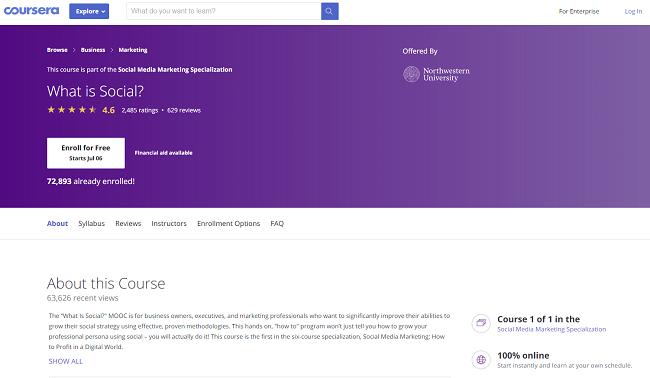 Coursera digital marketing course