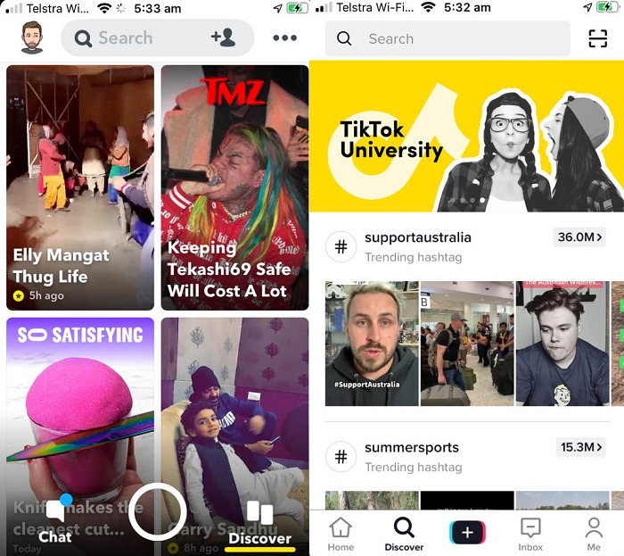 Snapchat Discover and TikTok Explore