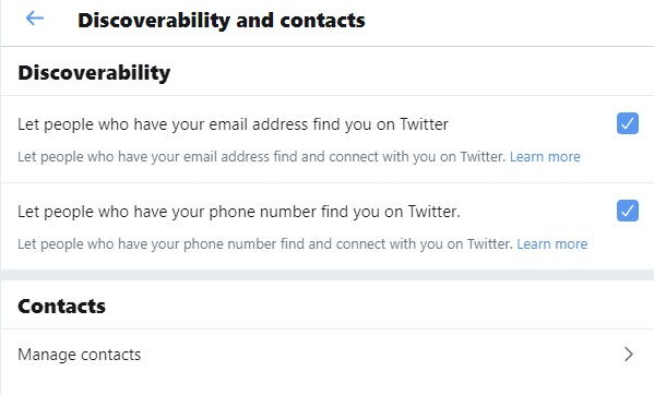 Twitter account discoverability