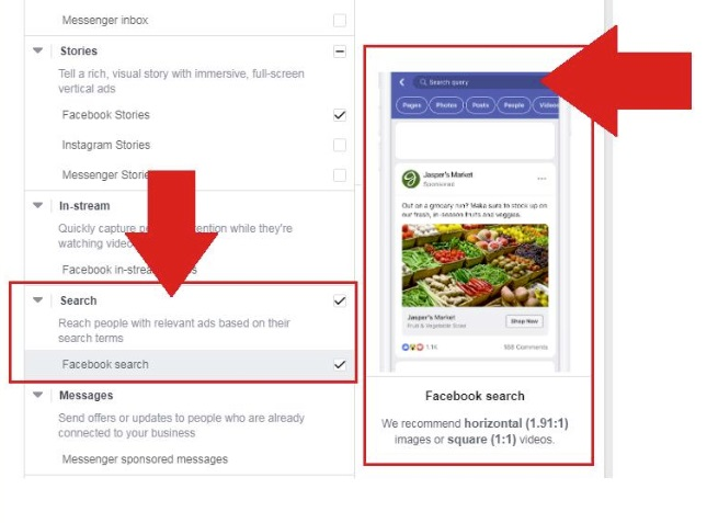 Facebook search ad placement option