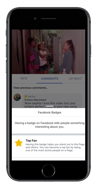 Facebook video 'Top Fan' Badges