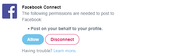 Facebook app connection screen on Twitter