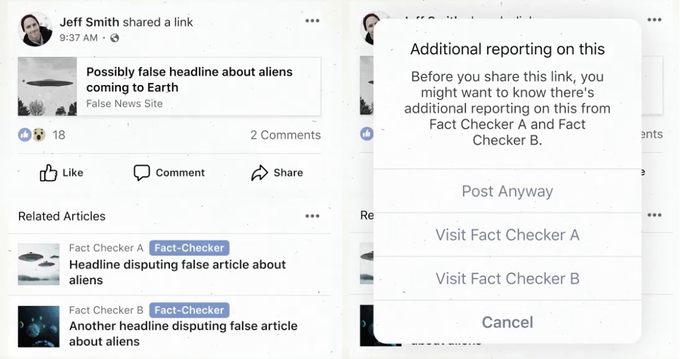 Facebook fact check warning