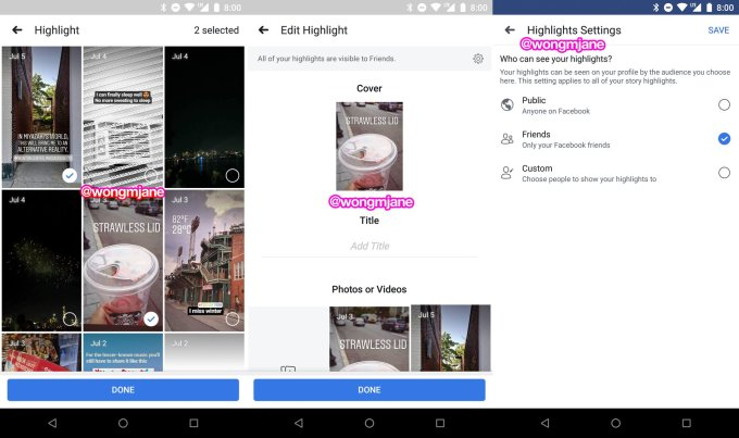 Facebook Stories highlights screenshots