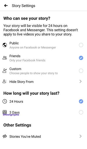 Facebook Stories 3 Days test