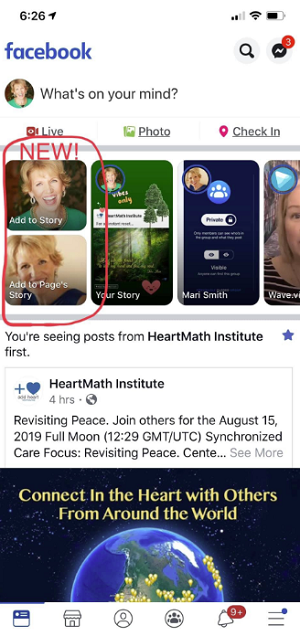 Facebook Stories split example