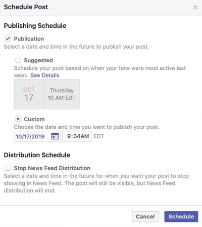 Facebook post scheduling suggestions