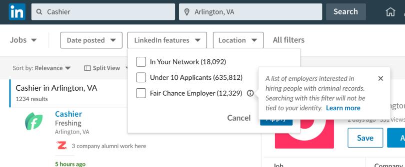 LinkedIn Fair Chance job filter