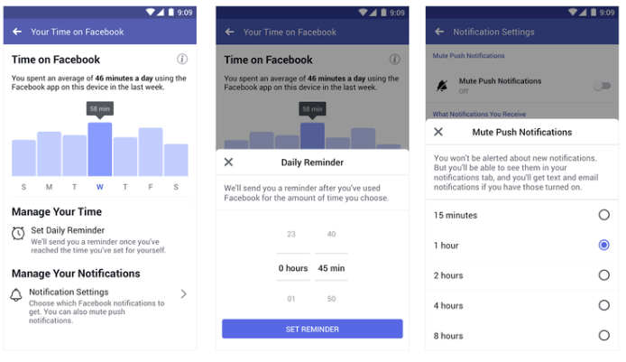 Screenshots of Facebook's new activity insights