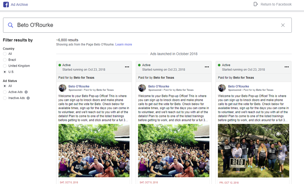 Facebook Ad Archive report example