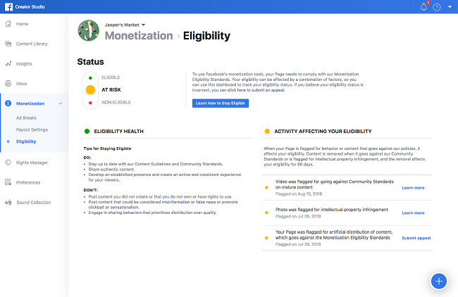Facebook video ad eligibility check in Creator Studio