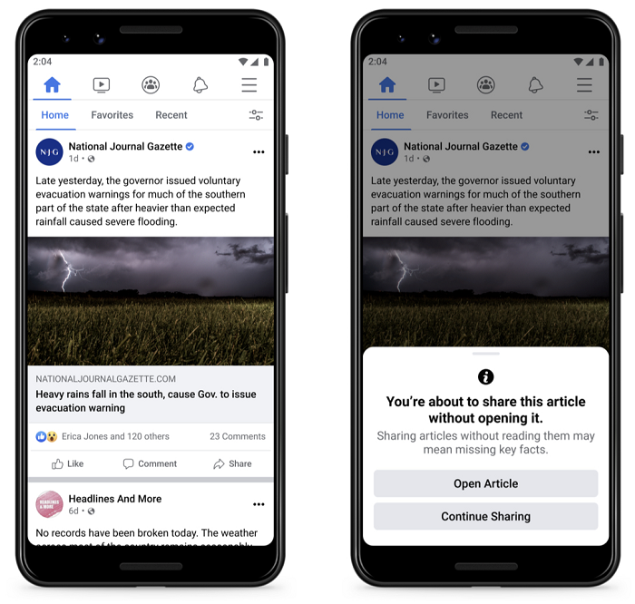Facebook sharing alert