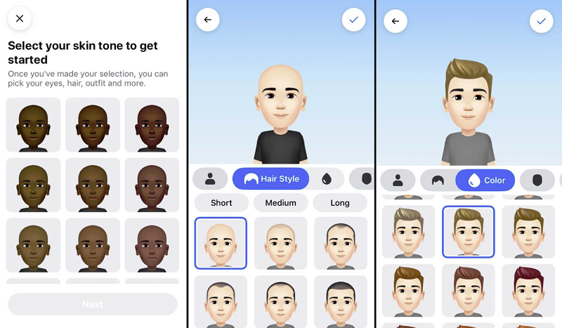 Facebook Avatar creation process - first stages