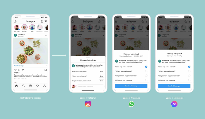Facebook messaging connection options