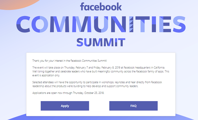 A screenshot from the Facebook Communities Summit page
