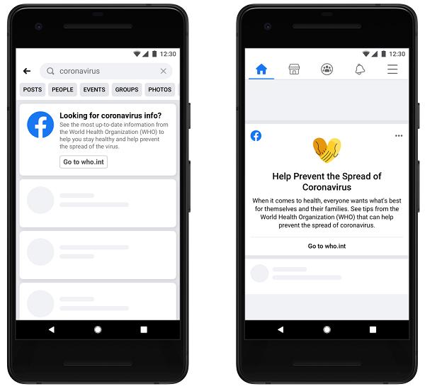Facebook coronavirus alert