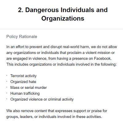 Facebook regulations on dangerous individuals and organizations