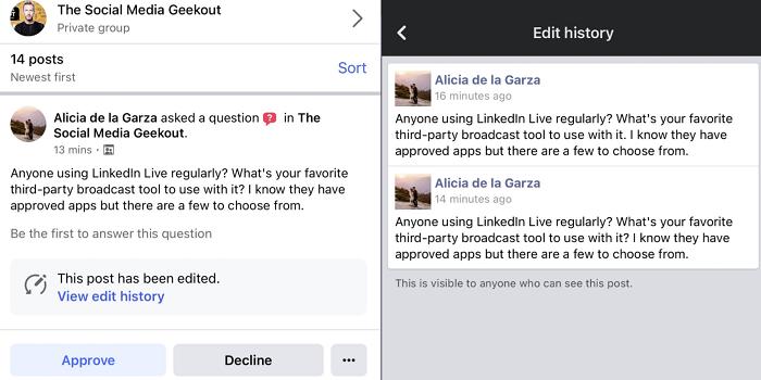 Facebook Group Edit alerts