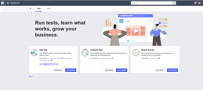 Facebook Ad Manager Experiments
