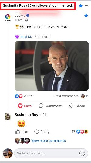 Facebook comment alert