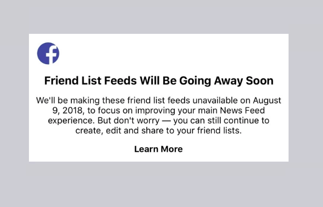 Facebook 'Friends List' feeds shut down notification