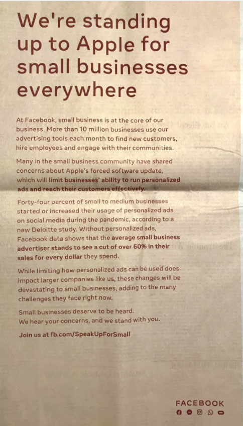 Facebook full page newspaper ad