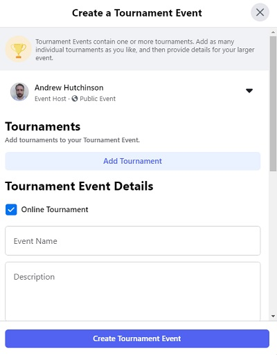 Facebook gaming events