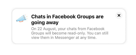 Facebook group chats removal