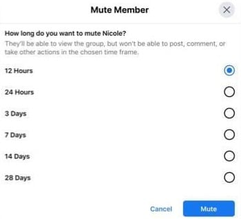 Facebook group muting options