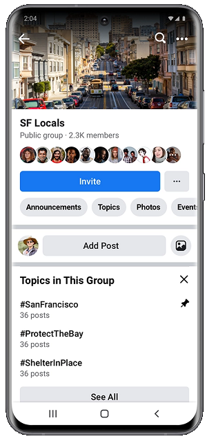 Facebook group topics