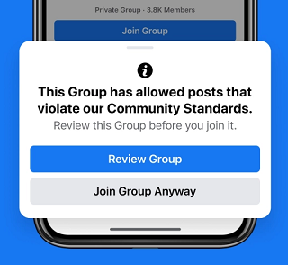 Facebook groups warning
