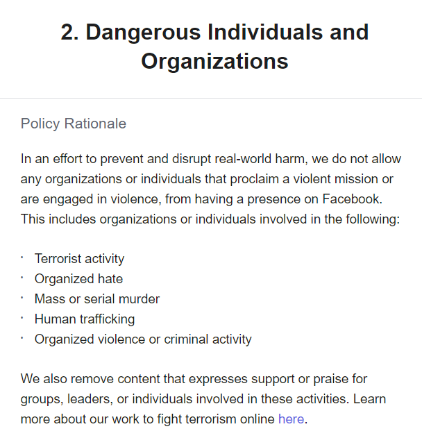 Facebook Dangerous Individuals and Organizations policy