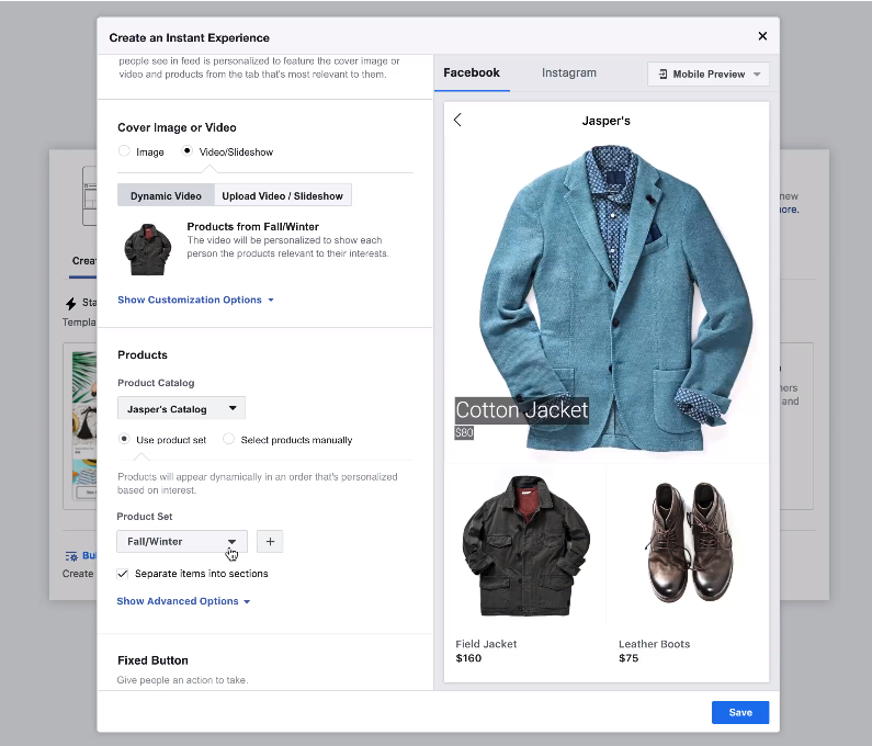 An example of the Facebook Collections Ad video creation process