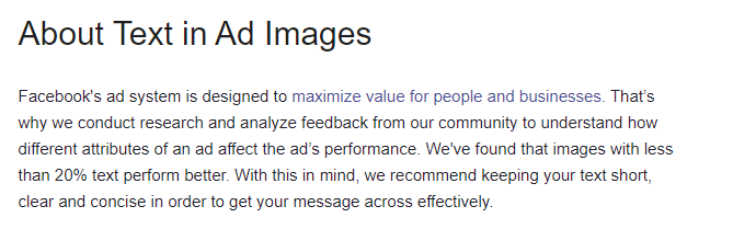 Facebook text in ad images