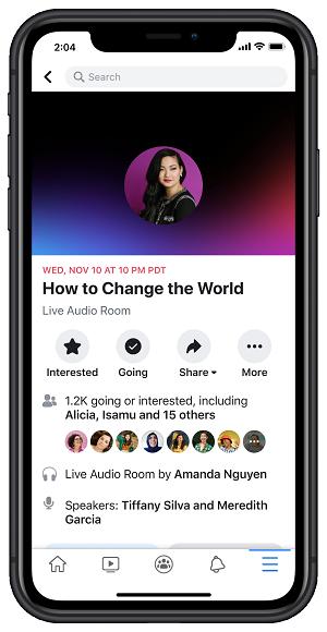 Facebook audio rooms