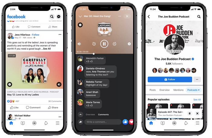, Facebook Officially Launches Live Audio Rooms and Podcasts