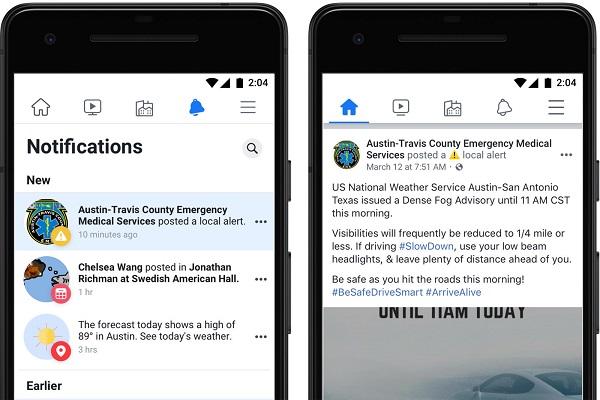 Facebook local alerts