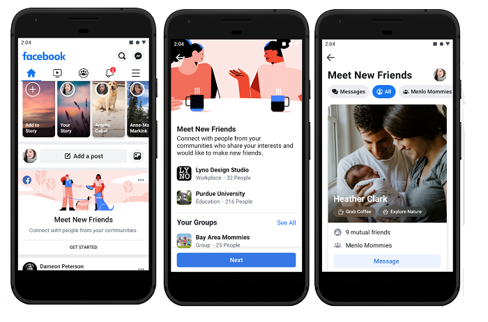 Facebook 'Meet New Friends' screenshots