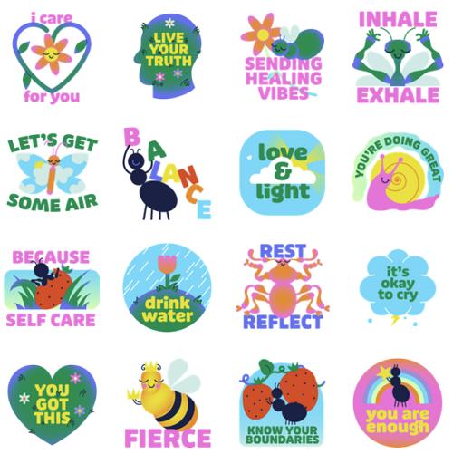 Facebook Messenger Mental Health Sticker Package