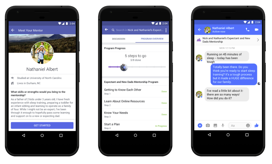 Screenshots of Facebook's group mentorship option